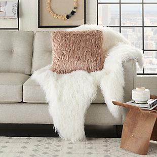 Modern Braided Shag Blush Pillow, Pink, large