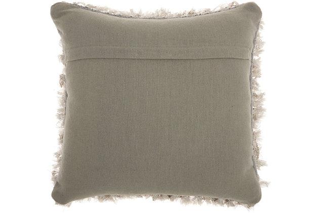 Modern Braided Shag Lt Grey Pillow, Gray, large