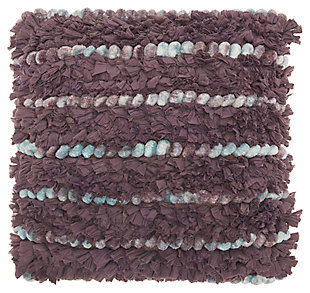Modern Chindi Pom Pom Shag Multicolor Pillow, , large