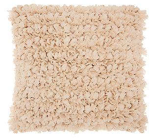 Modern Paper Loop Shag Beige Pillow, , large