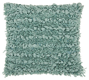 Modern Paper Loop Shag Celadon Pillow, Blue, large