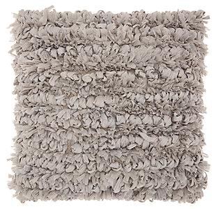 Modern Paper Loop Shag Grey Pillow, , large