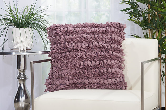 Modern Paper Loop Shag Lavender Pillow, Purple, large