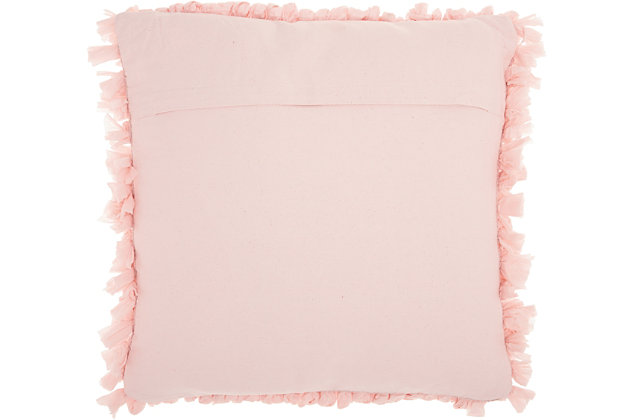 Modern Paper Loop Shag Beige Pillow, Pink, large
