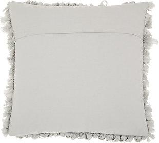Modern Paper Loop Shag Grey Pillow, Gray, large