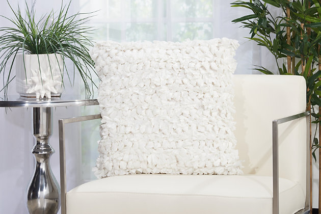 Modern Paper Loop Shag White Pillow, White, large