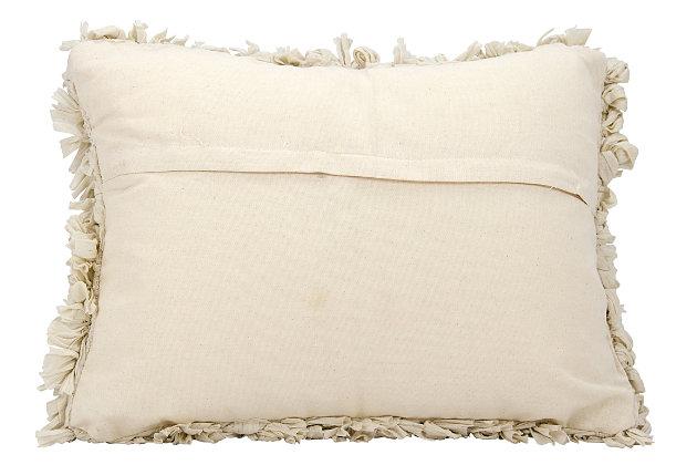 Modern Loop Shag Beige Pillow, Beige, large