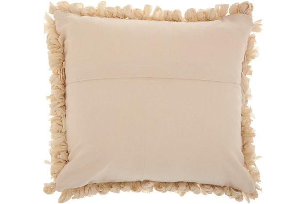 Modern Loop Shag Beige Pillow, Beige, large