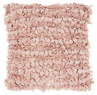 Modern Loop Shag Blush Pillow, Pink, large
