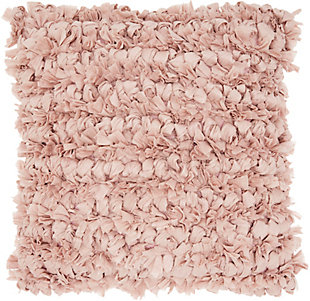 Modern Loop Shag Blush Pillow, Pink, rollover