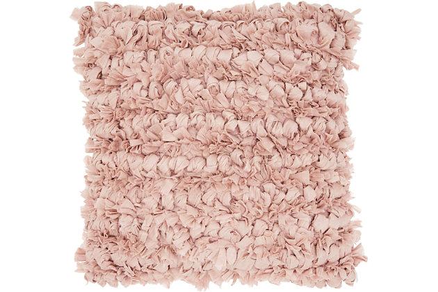 Modern Loop Shag Blush Pillow, Pink, large