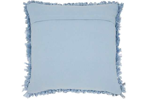 Modern Loop Shag Ocean Pillow, Blue, large