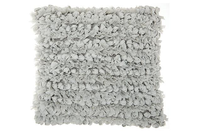 Modern Loop Shag Silver Pillow, Gray, large