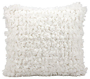 Modern Loop Shag White Pillow, White, large