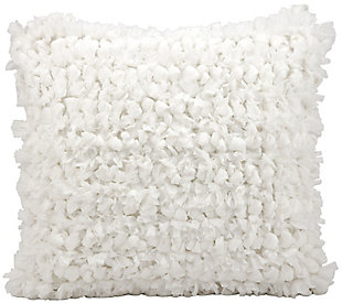 Modern Loop Shag White Pillow, White, rollover