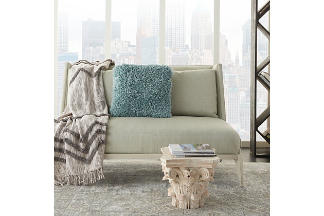 Modern Lush Yarn Shag Celadon Pillow, Green, large