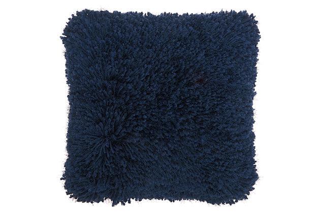 Modern Lush Yarn Shag Navy Pillow, Blue, large