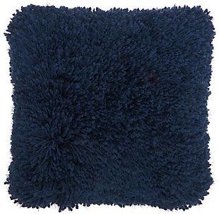 Modern Lush Yarn Shag Celadon Pillow, Blue, rollover