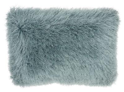 Modern Yarn Shimmer Shag Celadon Pillow, Blue, large