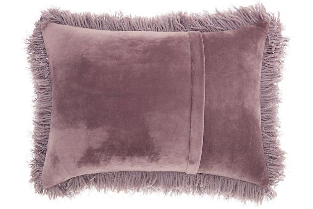 Modern Yarn Shimmer Shag Lavender Pillow, Purple, large