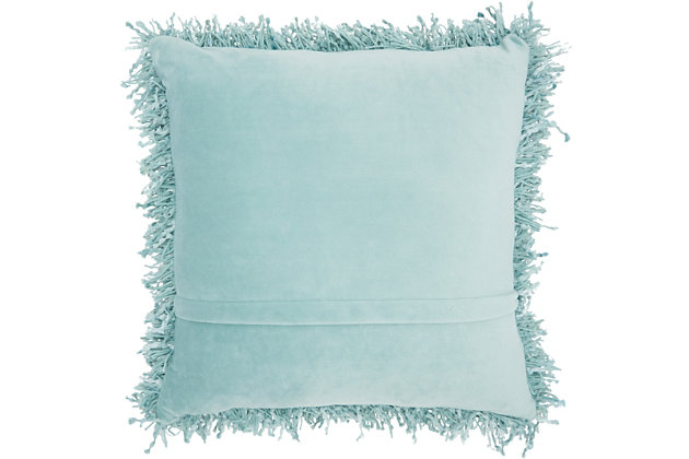 Modern Space Dyed Shag Navy Pillow, Blue, large