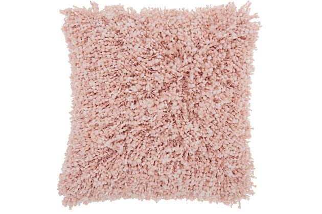 Modern Space Dyed Shag Rose Pillow, Pink, large