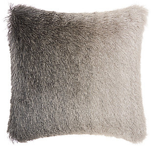 Modern Illusion Shag Charcoal Pillow, Gray, large