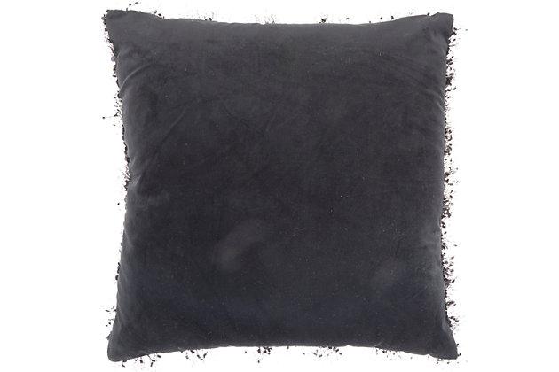 Modern Shaggy Sequins Shag Black Pillow, Black, large