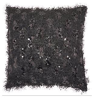 Modern Shaggy Sequins Shag Black Pillow, , large