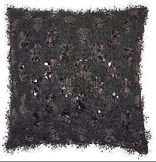 Modern Shaggy Sequins Shag Black Pillow, , rollover