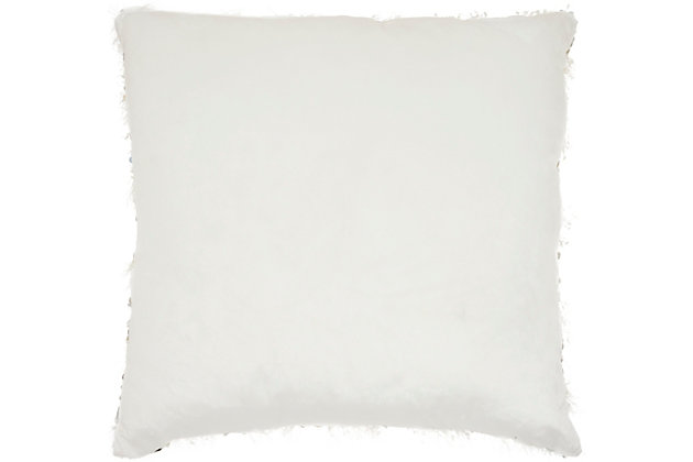 Modern Shaggy Sequins Shag Ivory Pillow, White, large