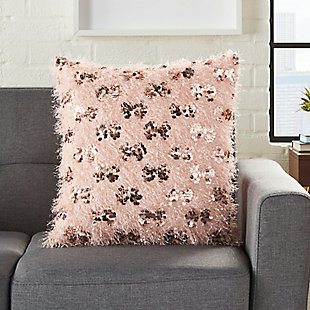 Modern Shaggy Sequins Shag Rose Pillow, Pink, large