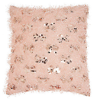 Modern Shaggy Sequins Shag Rose Pillow, Pink, large