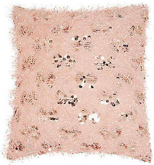 Modern Shaggy Sequins Shag Rose Pillow, Pink, rollover