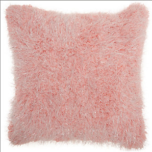 Modern Candy Lurex Shag Rose Pillow, Pink, rollover