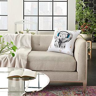 Modern Rockin' Elephant White Pillow, , large