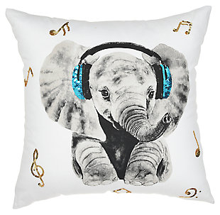 Modern Rockin' Elephant White Pillow, , large