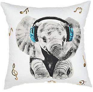 Modern Rockin' Elephant White Pillow, , rollover