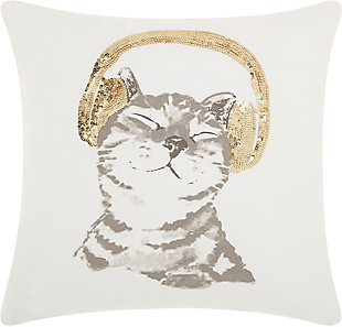 Modern Dj Glitter Kitten Gold Pillow, , rollover