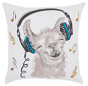 Modern Rocckin' Llama White Pillow, , large