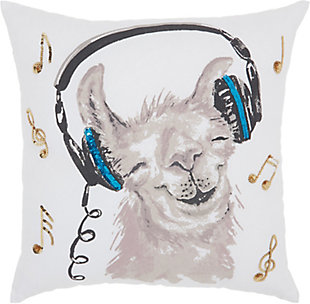 Modern Rocckin' Llama White Pillow, , rollover