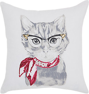 Modern Cassic Kitty White Pillow, , rollover