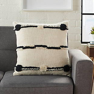 Modern Connect The Dot Stripe Life Styles Black Ivory Pillow, , large