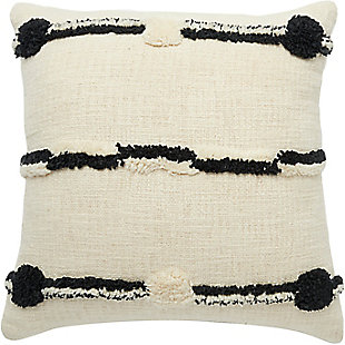 Modern Connect The Dot Stripe Life Styles Black Ivory Pillow, , rollover