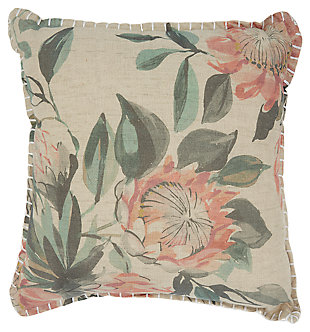 Modern Printed Floral Life Styles Natural Pillow, , large