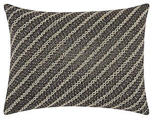 Modern Diagonal Chevron Luminescence Pewter Pillow, , large