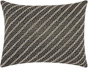 Modern Diagonal Chevron Luminescence Pewter Pillow, , rollover