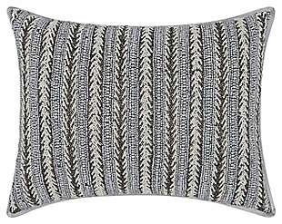 Modern Arrowhead Stripes Luminescence Pewter Pillow, , large