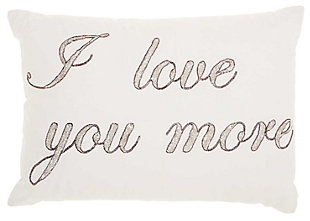 Modern I Love You More Luminescence Pewter Pillow, , large