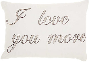 Modern I Love You More Luminescence Pewter Pillow, , rollover